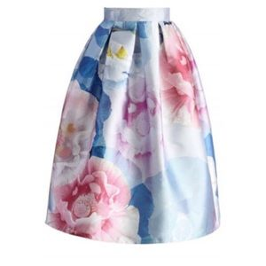 NWT Chicwish Watercolor Floral Midi Skirt Size L